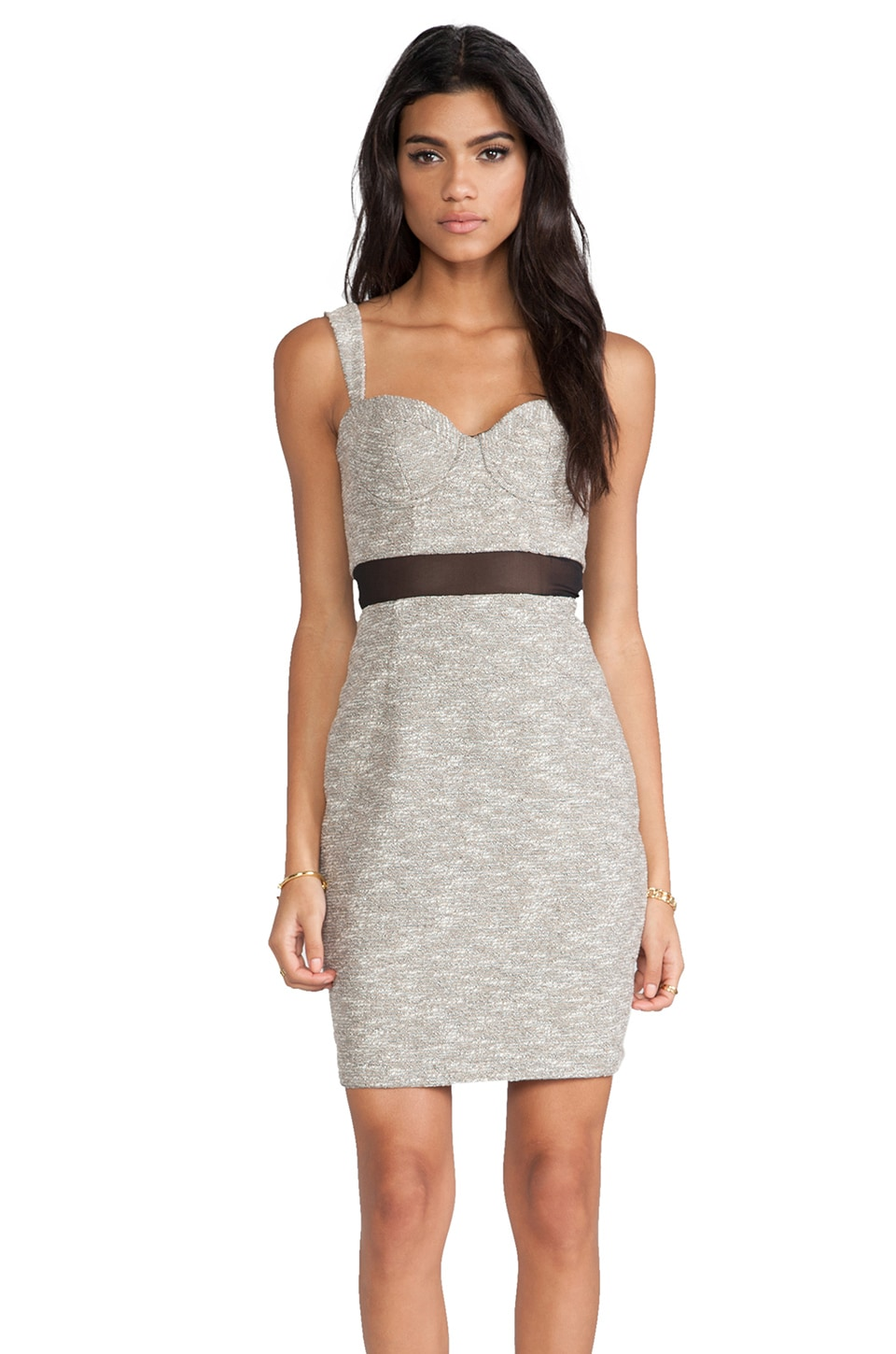 Paper Crown by Lauren Conrad Canal Dress in Silver Tweed Black Chiffon