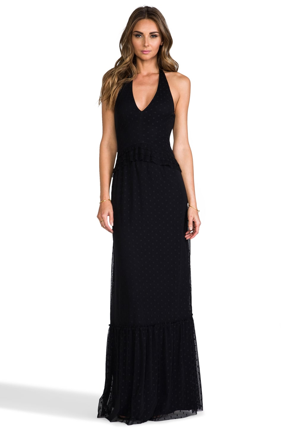 Paper Crown by Lauren Conrad Marilyn Maxi Dress in Black Polka