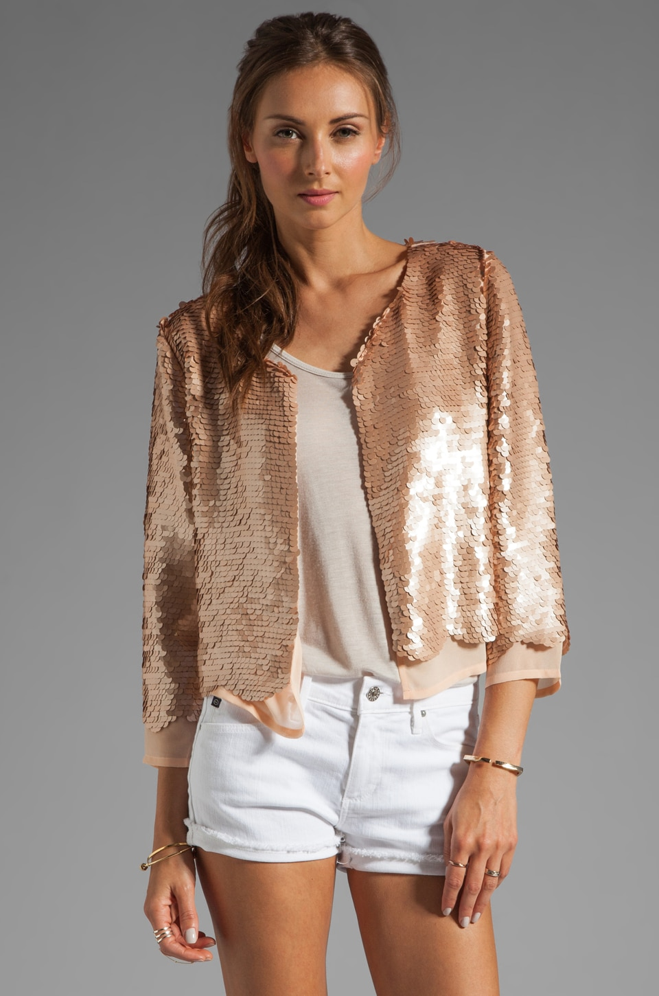Paper Crown by Lauren Conrad Chester Sequin Jacket in Champagne/Nude