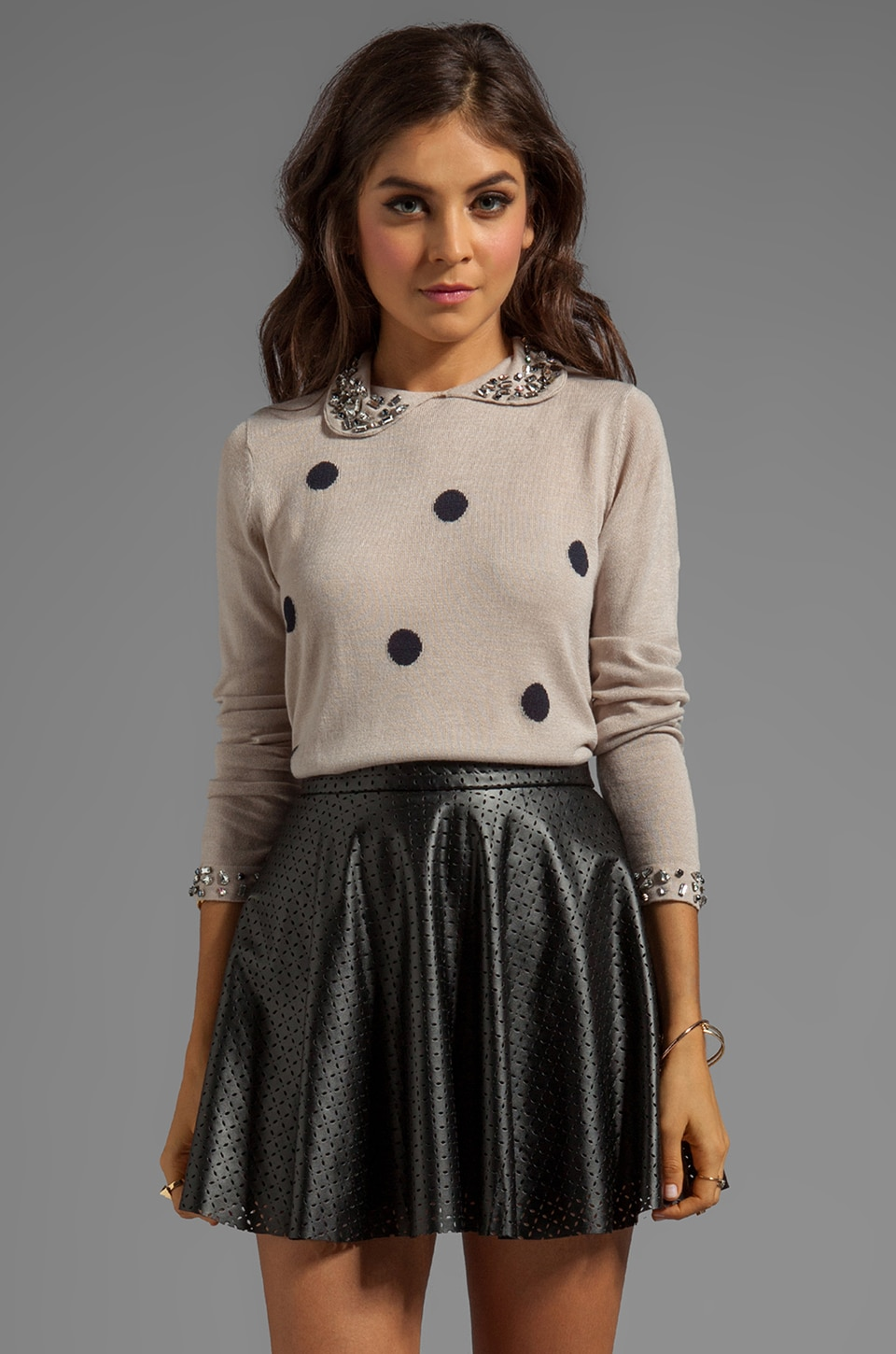 Paper Crown by Lauren Conrad 5th Avenue Sweater in Jewel Navy Polka Dot