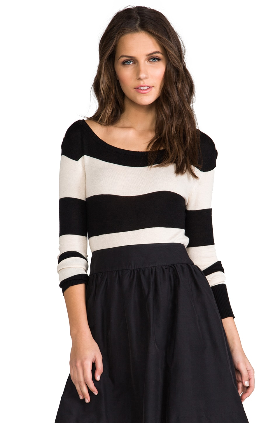Paper Crown by Lauren Conrad Desert Sweater in Winter White/Black Stripe
