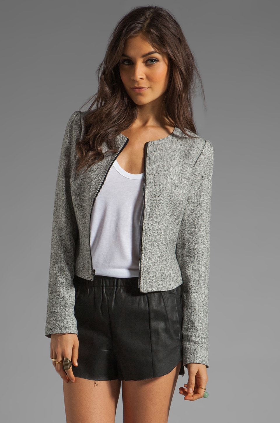 Paper Crown by Lauren Conrad Tack Tweed Jacket in Charcoal