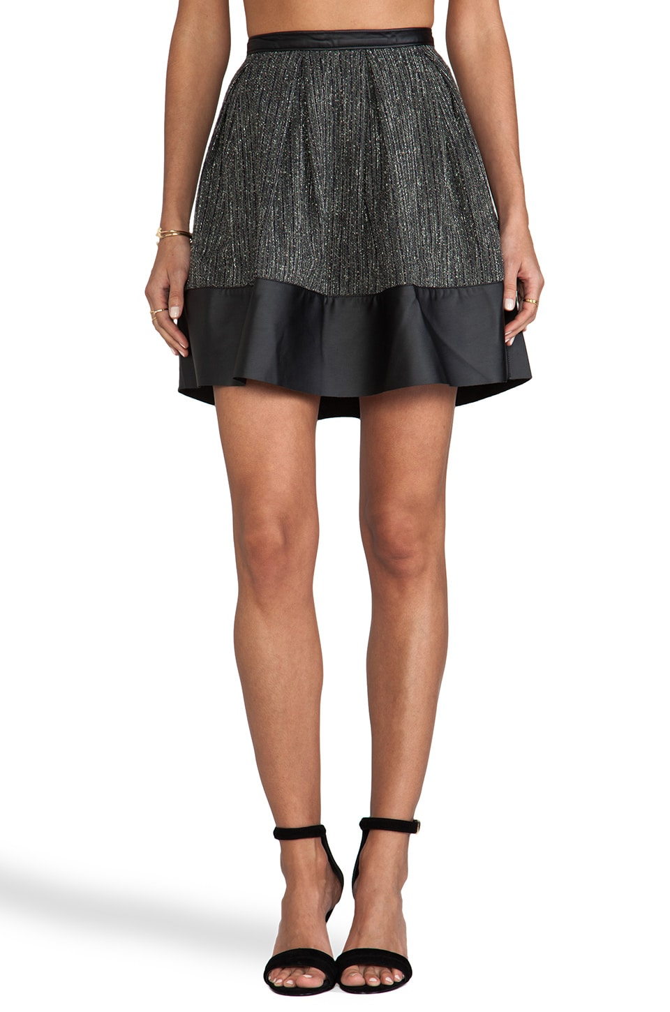 Paper Crown by Lauren Conrad Hudson Skirt in Dark Olive Tweed
