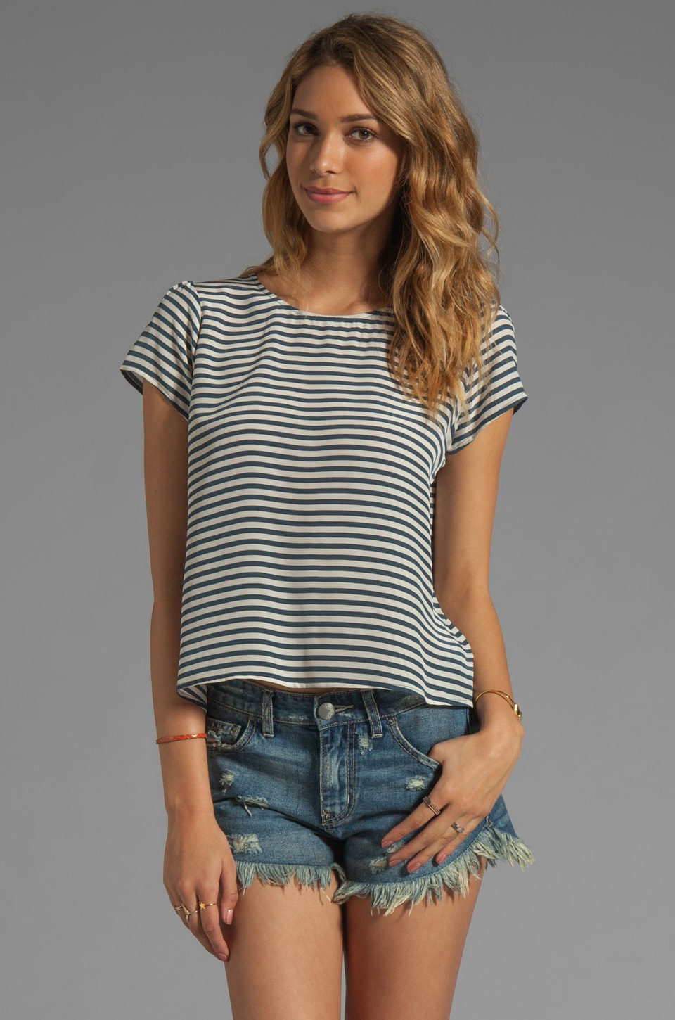 Paper Crown by Lauren Conrad Beam Blouse in Navy/Cream Stripe