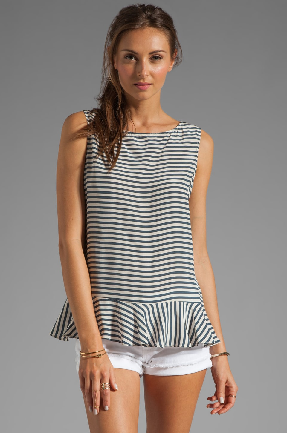 Paper Crown by Lauren Conrad Saybrook Top in Navy/Cream Stripe