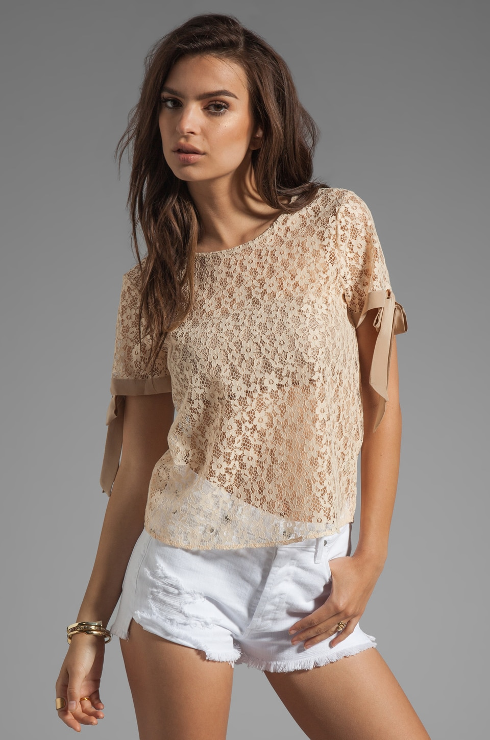 Paper Crown by Lauren Conrad Jamestown Lace Top in Peach