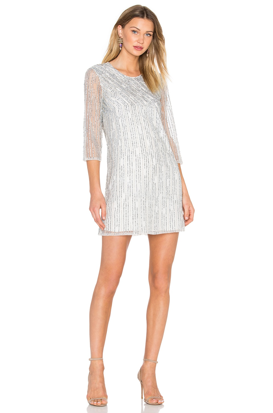 Parker Black Petra Embellished Dress in Silver