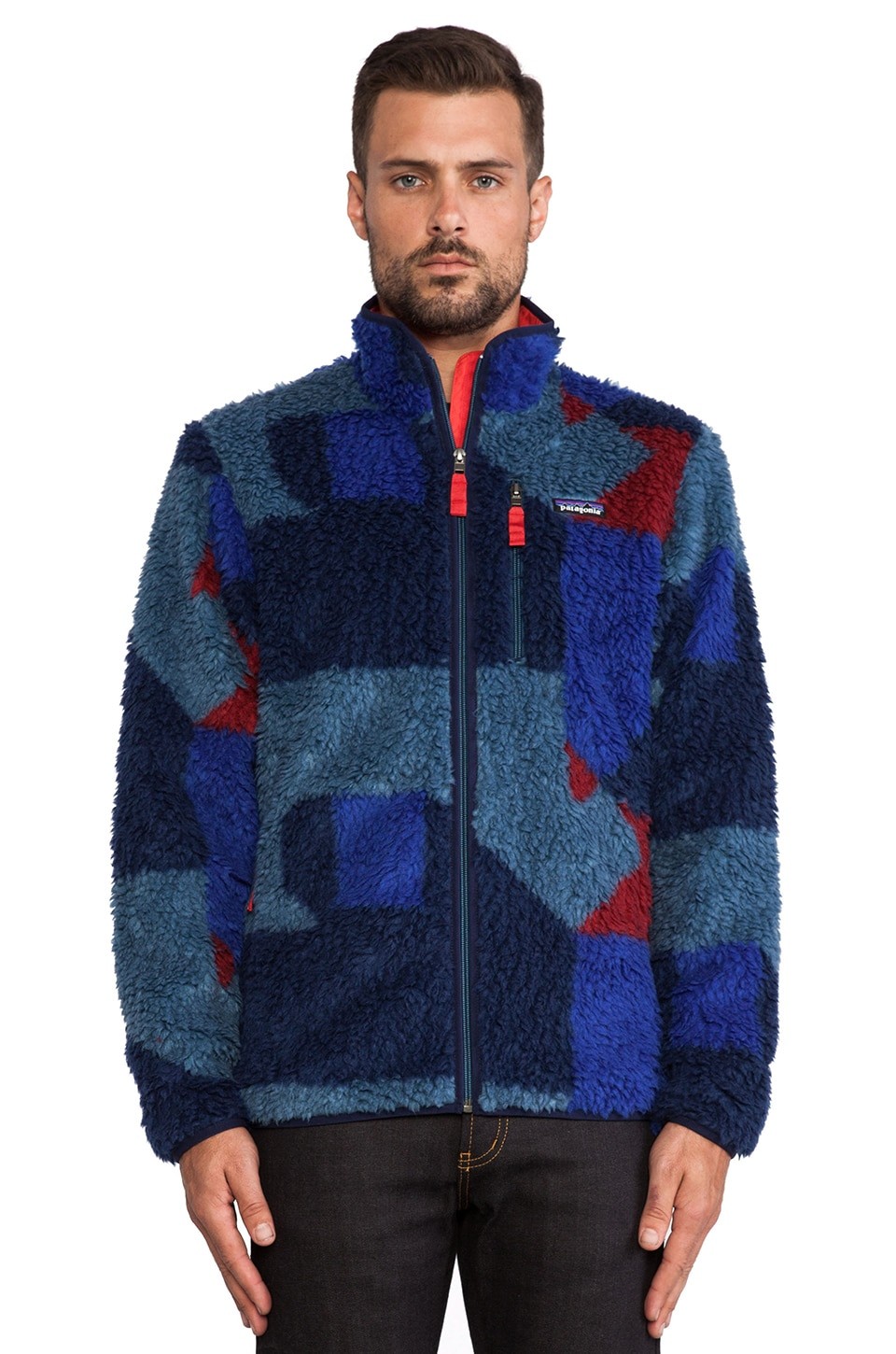 Patagonia Blocks Classic Retro-X Cardigan in Glass Blue & Cochineal Red