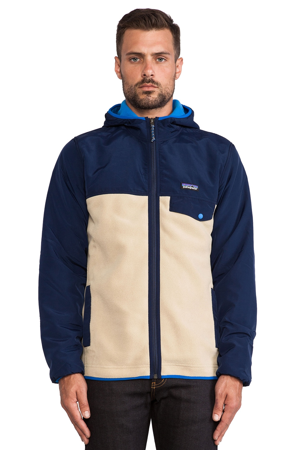 Patagonia Shelled Synchilla Snap-T Hoody in El Cap Khaki & Classic Navy