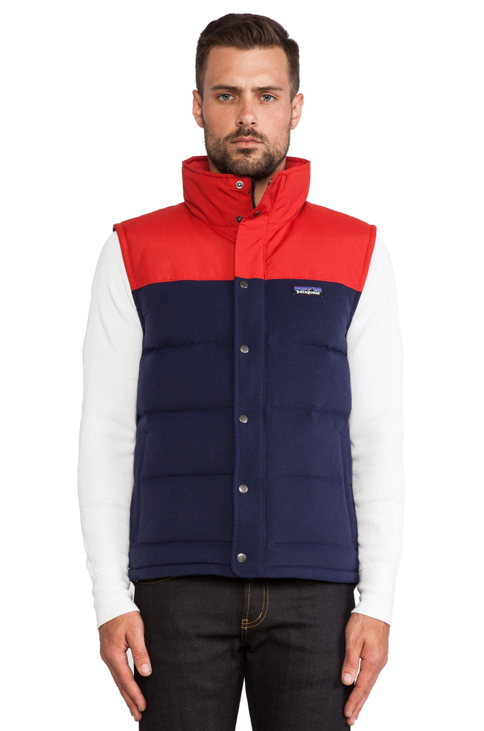 Patagonia Bivy Down Vest in Classic Navy & Cochineal Red