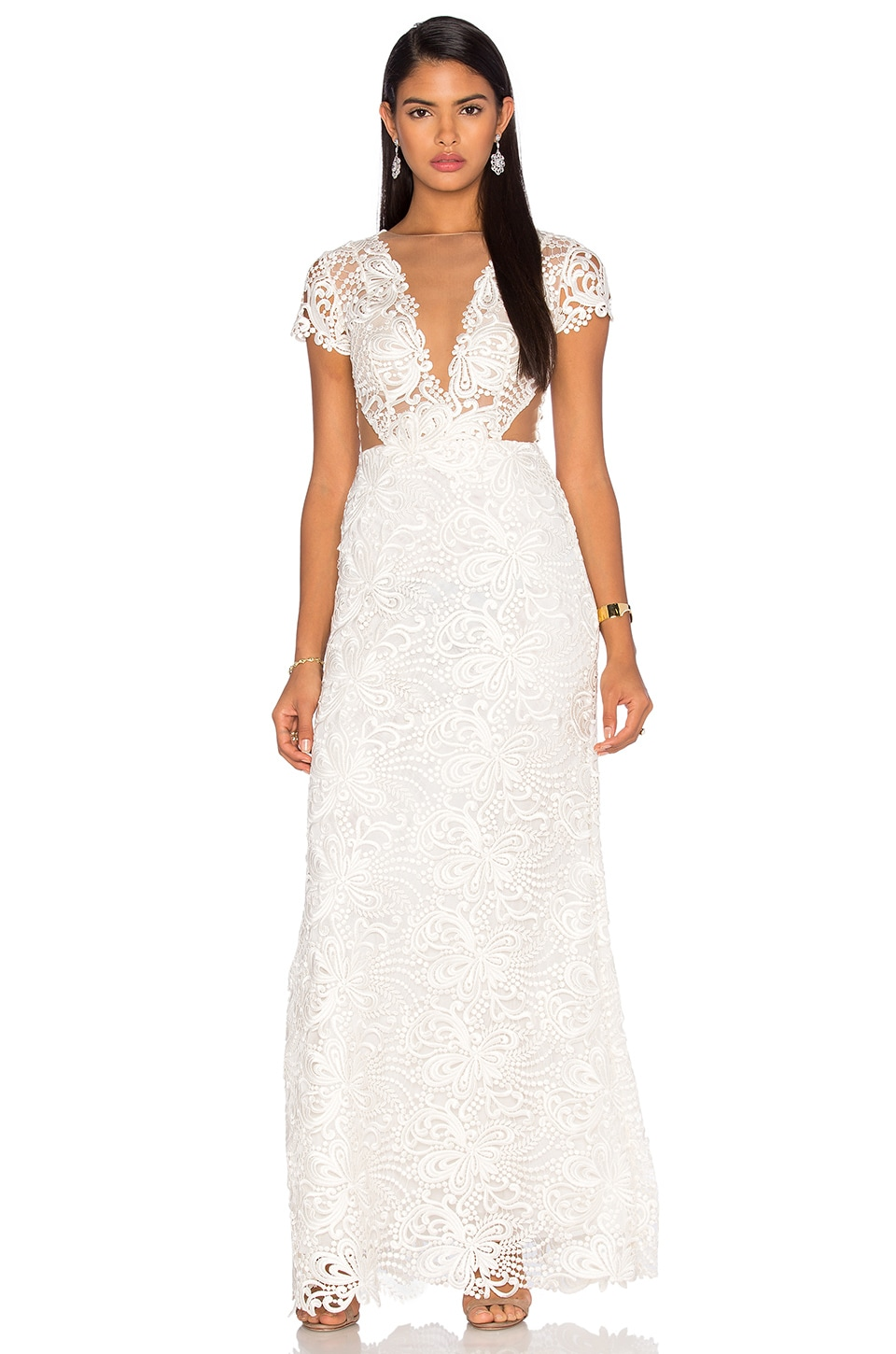 Patricia Bonaldi Deep V Lace Gown in White