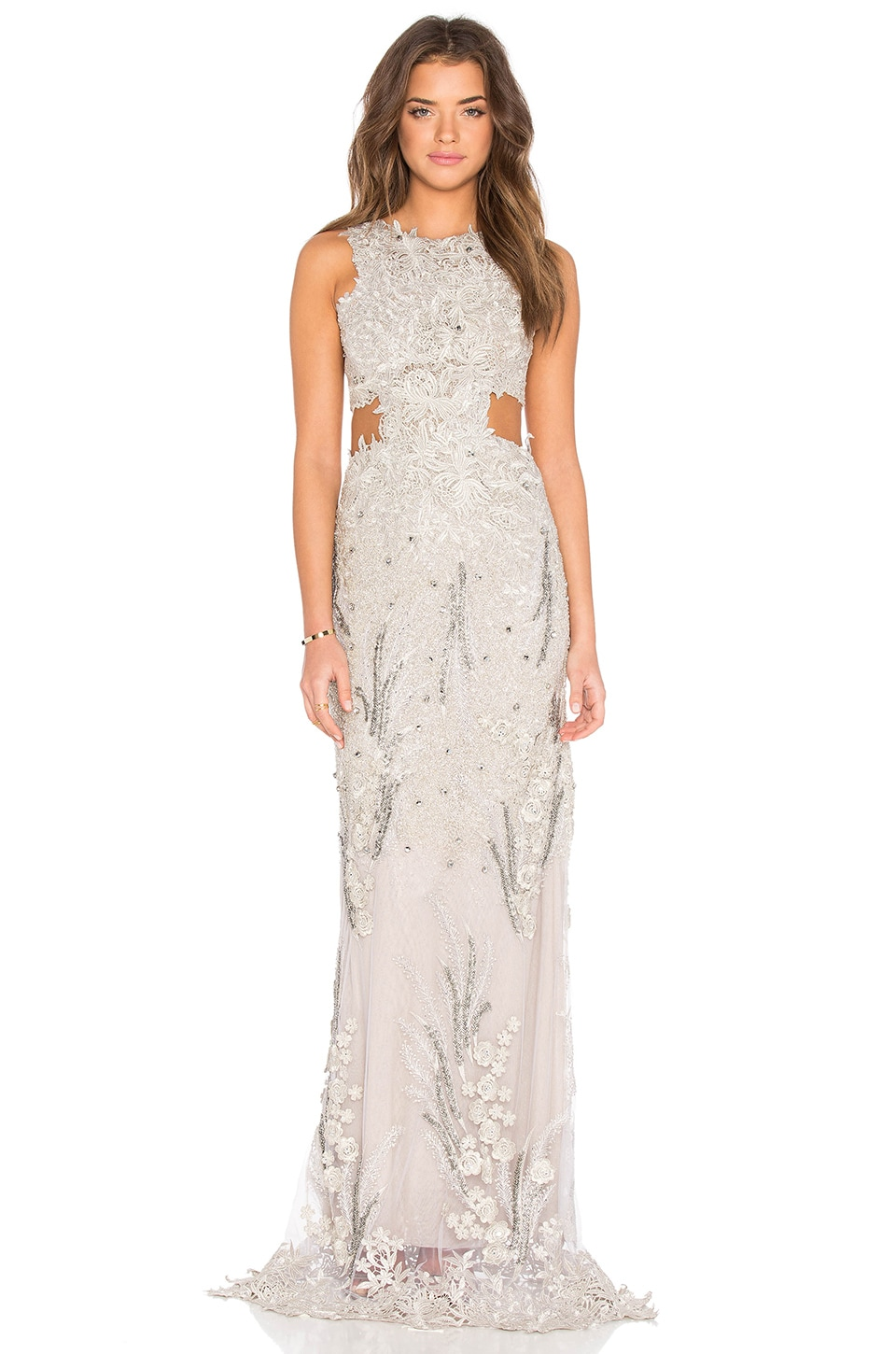 Patricia Bonaldi Embellished Sheer Gown in Silver