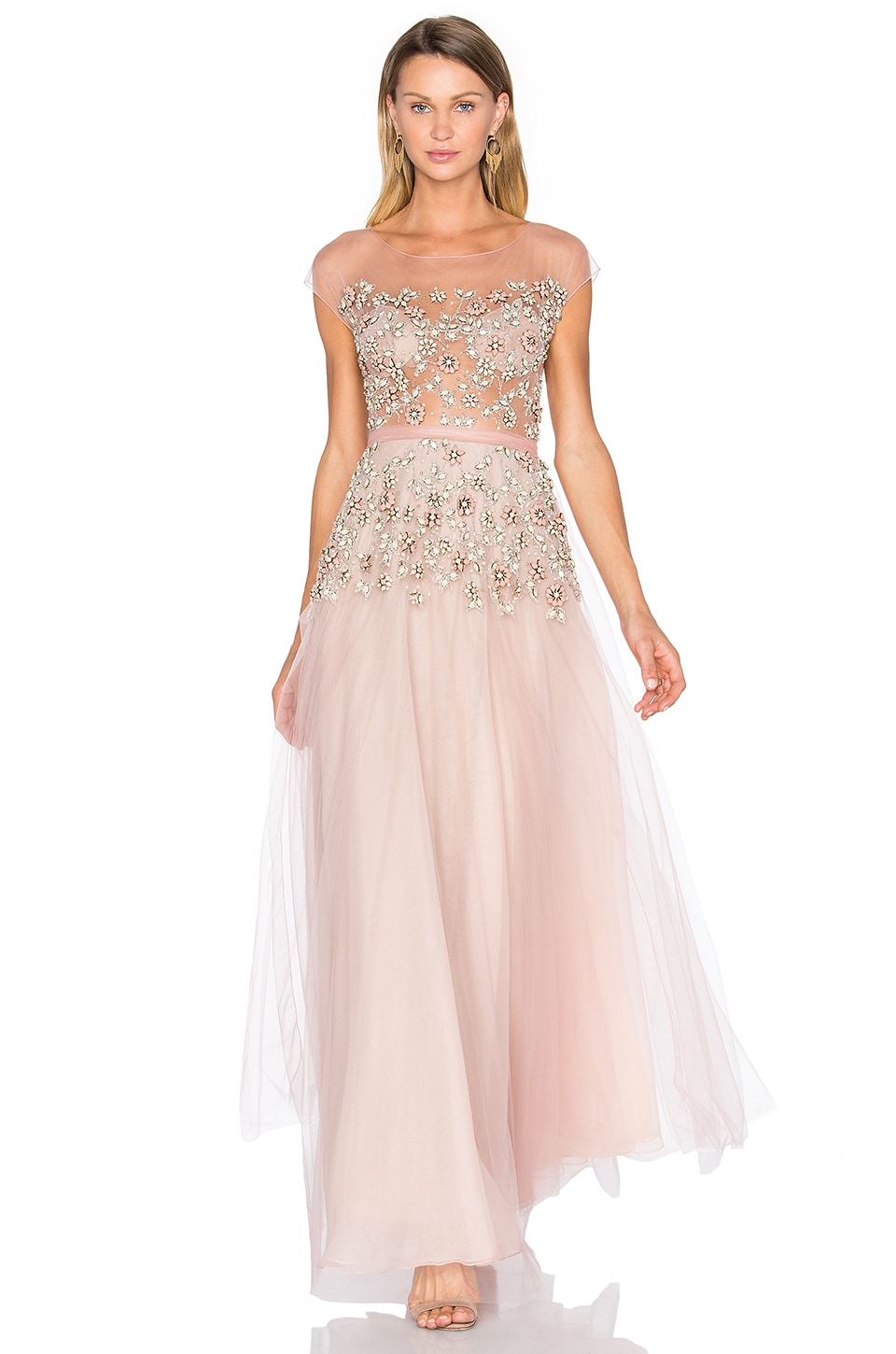 Patricia Bonaldi Floral Embellished Gown in Nude