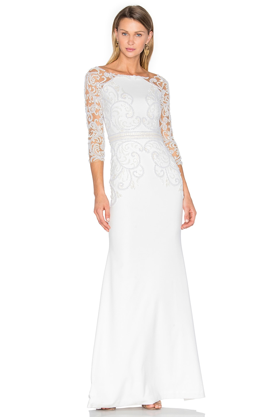 Patricia Bonaldi Long Sleeve Embellished Gown in White