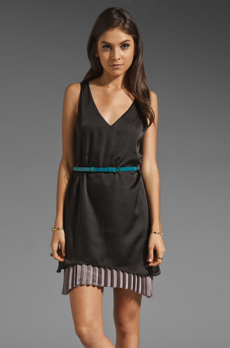 PJK Patterson J. Kincaid Uma Belted Dress in Black Multi