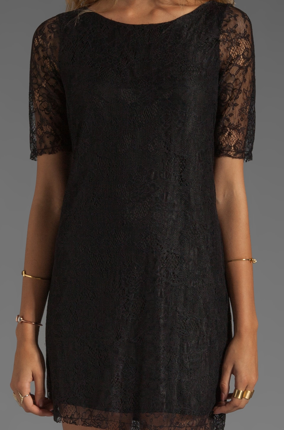 PJK Patterson J. Kincaid Nicole Lace Shift Dress in Black