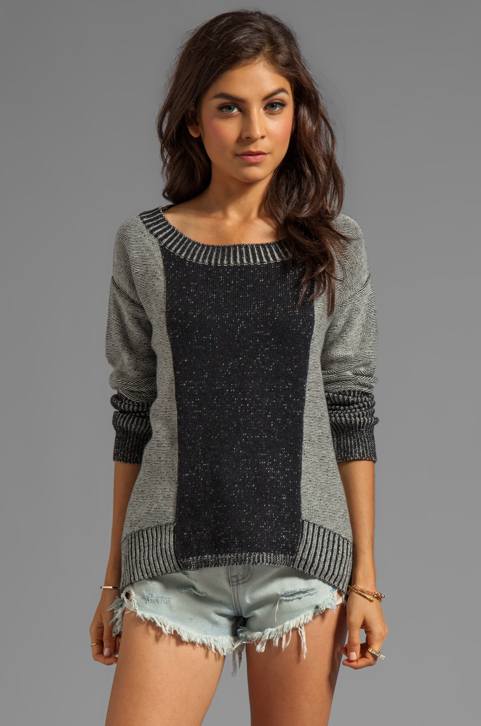 PJK Patterson J. Kincaid Palited High Low Sweater in Black/Pearl