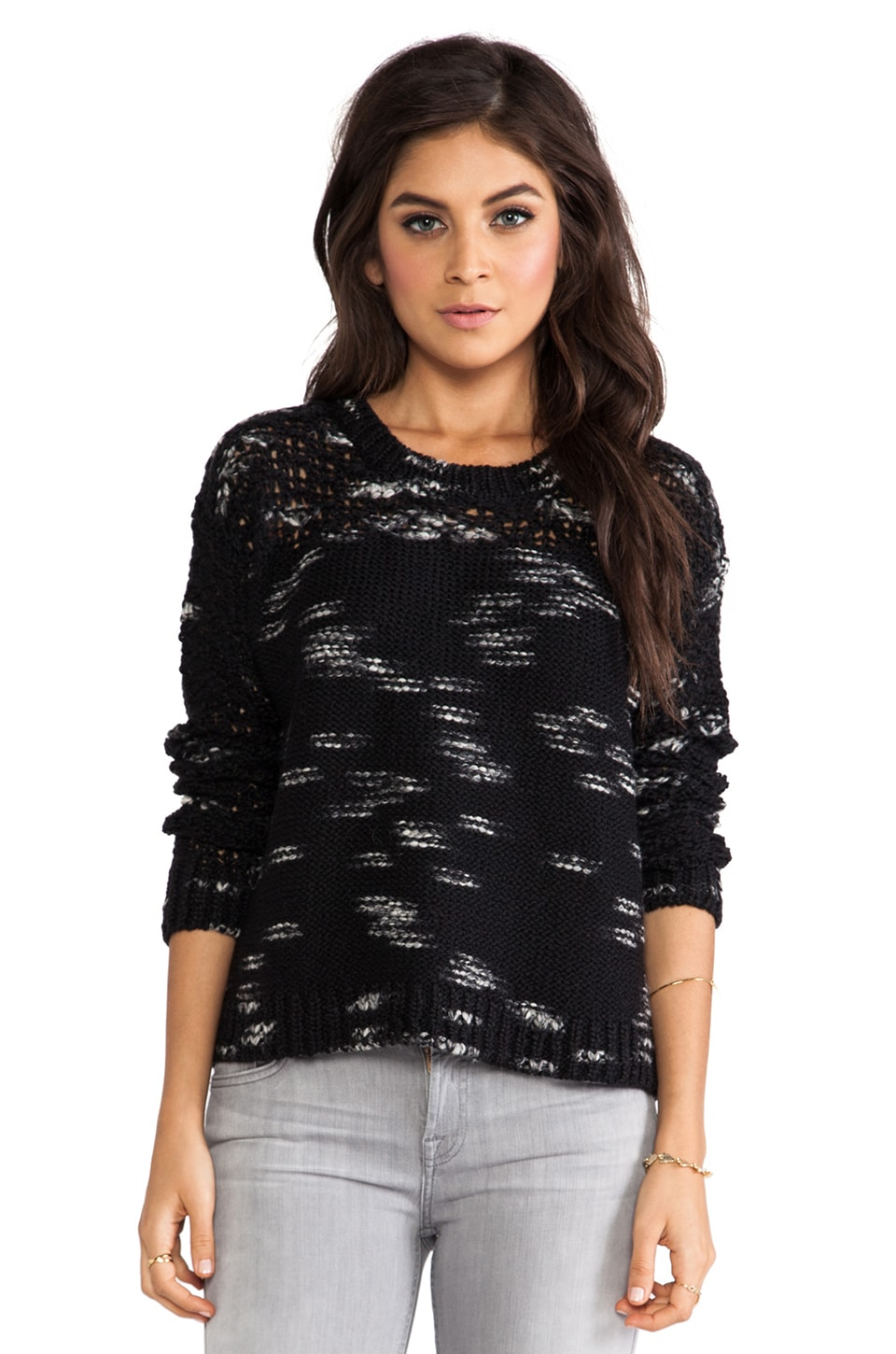 PJK Patterson J. Kincaid Static Space Dye Pullover in Black/White