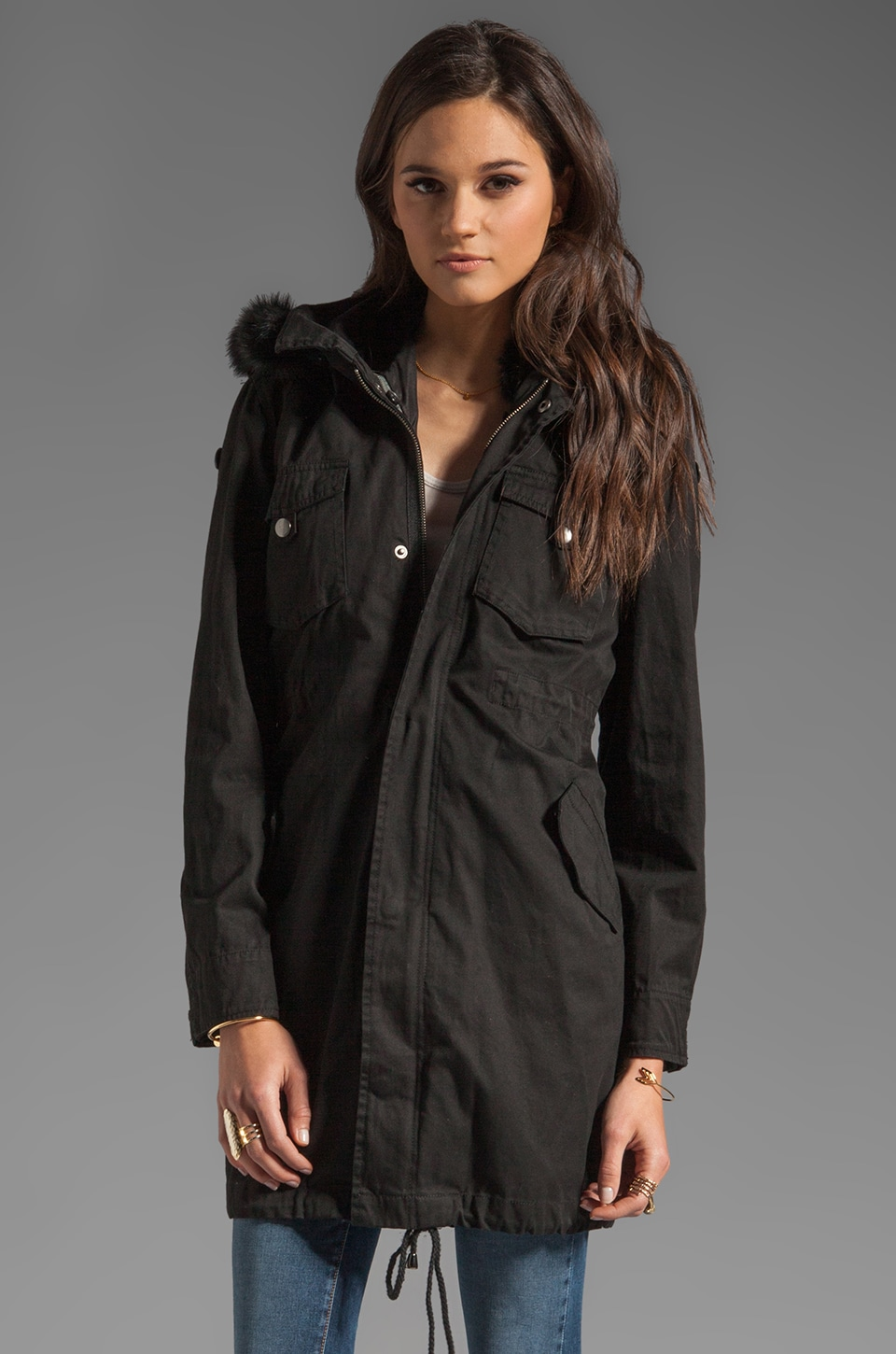 PJK Patterson J. Kincaid Lauren Fur Parka Jacket in Black