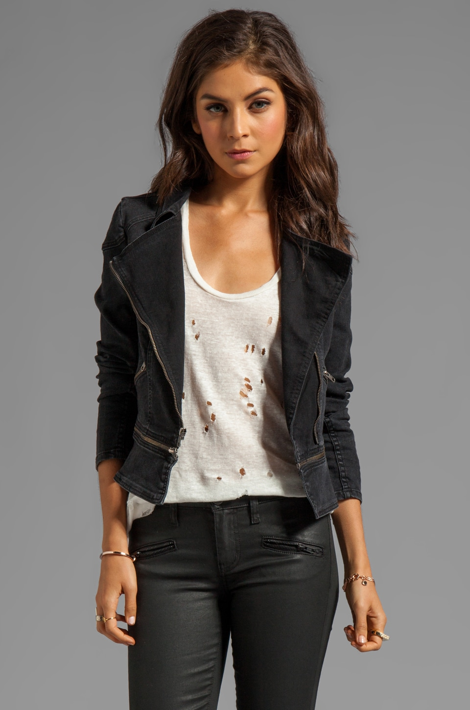 PJK Patterson J. Kincaid Vintage Washed Moto Jacket in Black