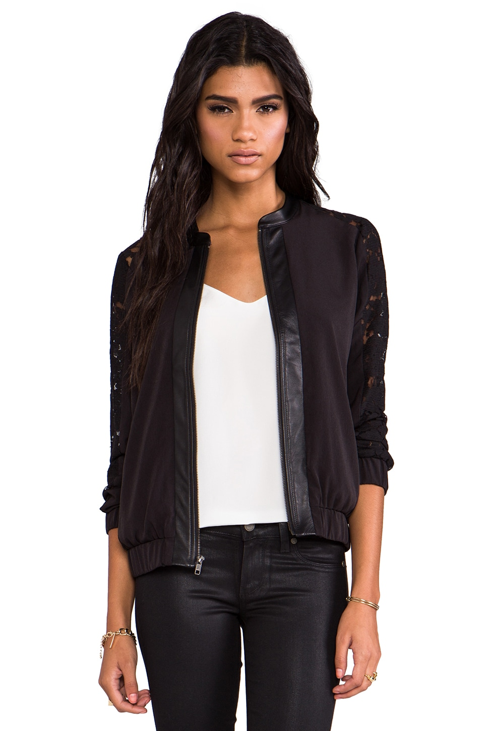 PJK Patterson J. Kincaid Leather and Lace Gretta Jacket in Stretch Limo