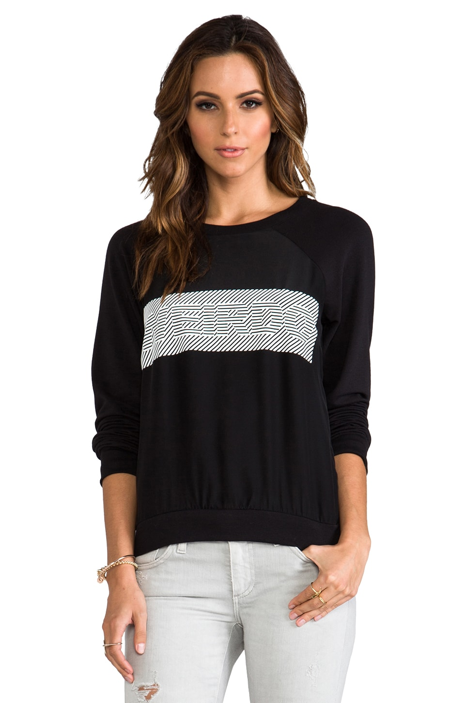 PJK Patterson J. Kincaid Gwen Raglan Sweatshirt Weirdo in Black