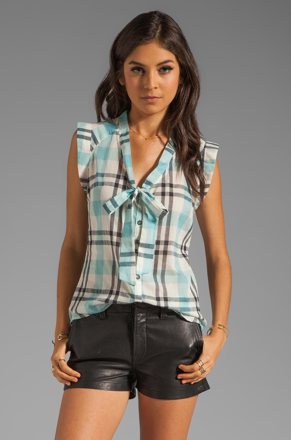 PJK Patterson J. Kincaid Kimi Tie Tank in Aqua Multi Plaid
