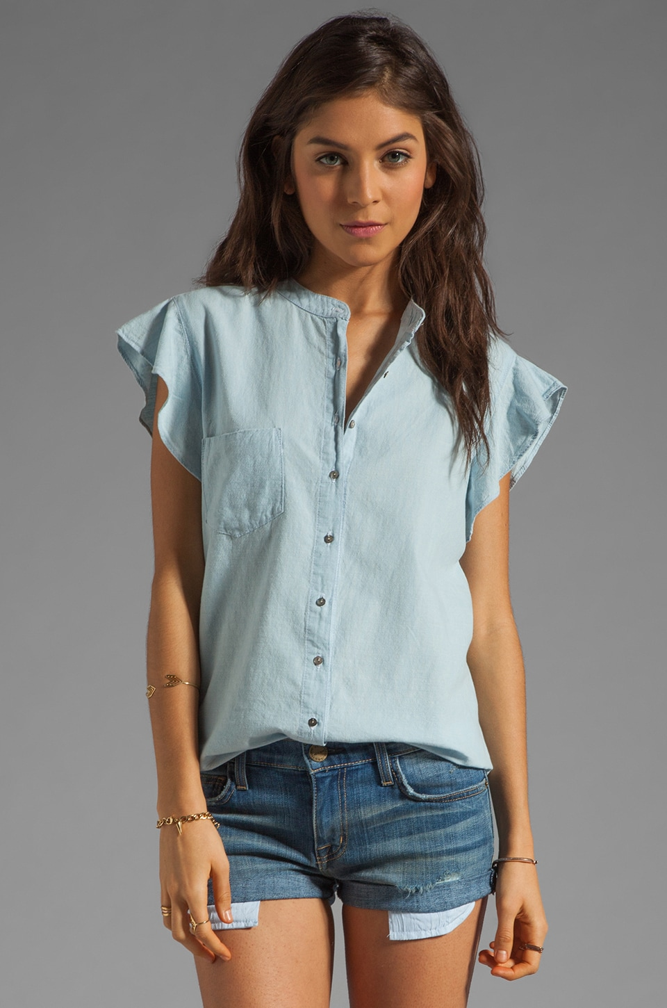 PJK Patterson J. Kincaid x the man repeller Pixie Ruffle Blouse in Chambray
