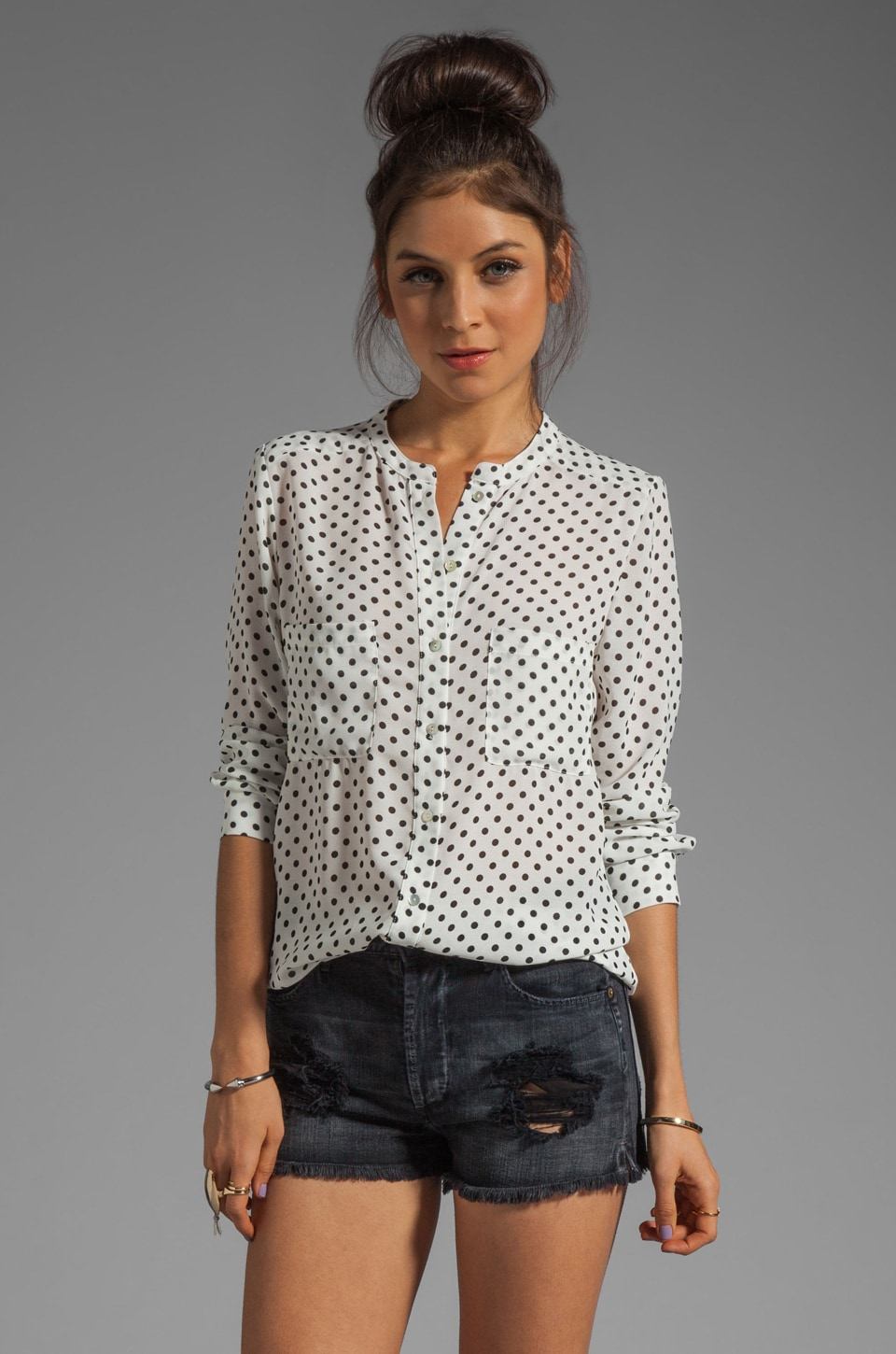 PJK Patterson J. Kincaid Patterson J. Kincaid Laurel Palo Alto Dot Blouse in Black/White