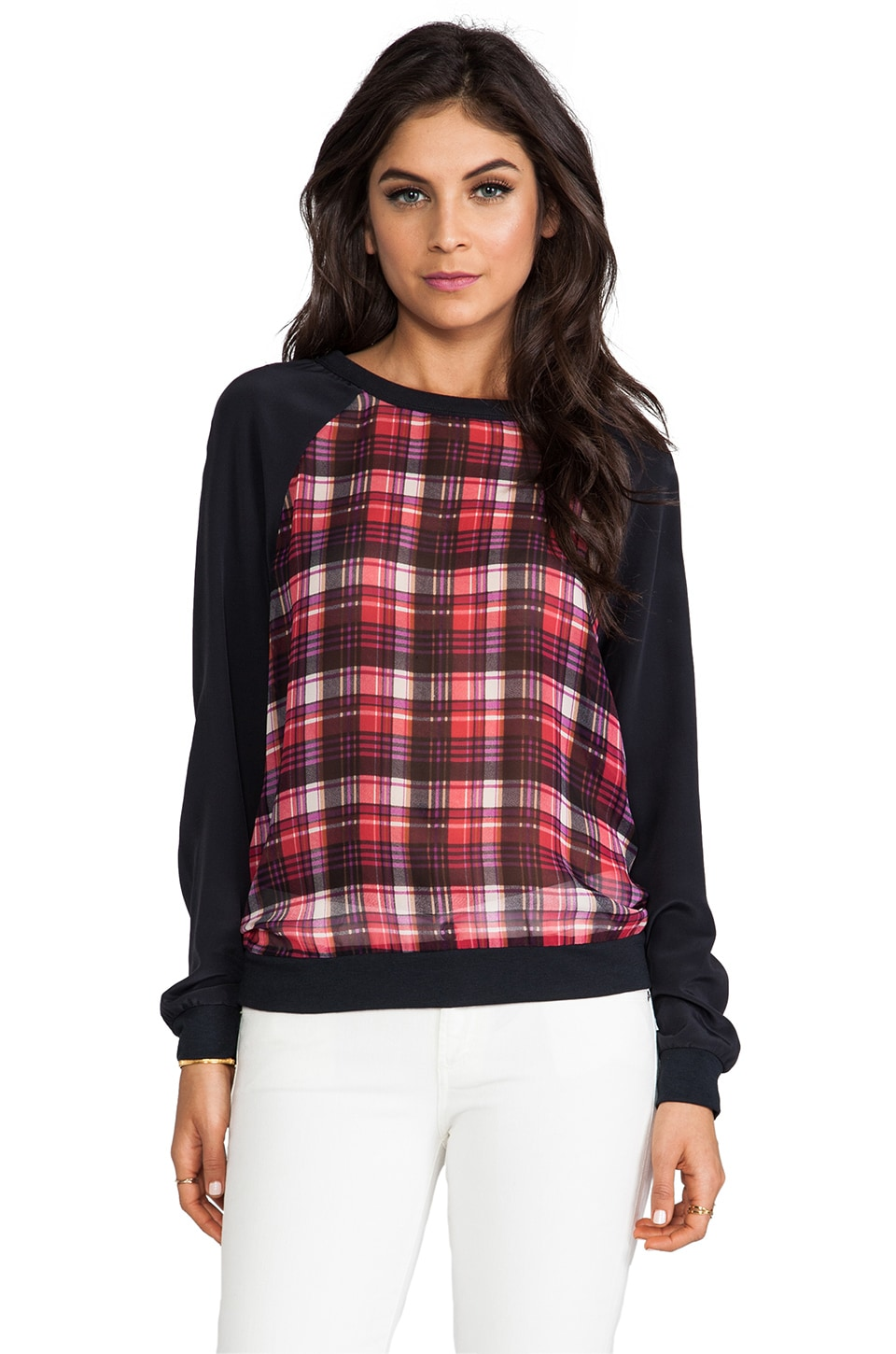PJK Patterson J. Kincaid Megan Plaid Sweatshirt in Red Multi