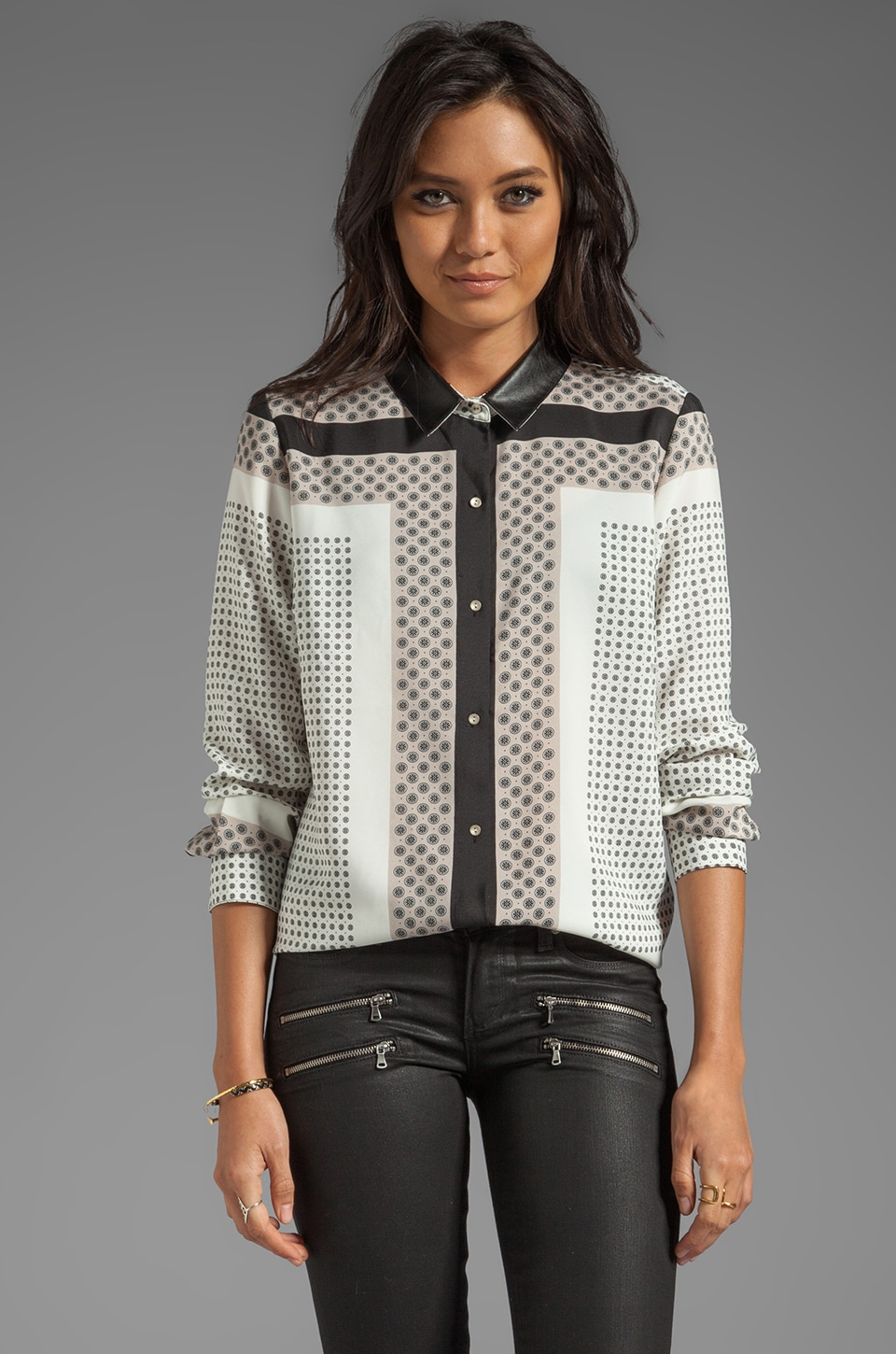 PJK Patterson J. Kincaid Bina Border Print Blouse in White Multi