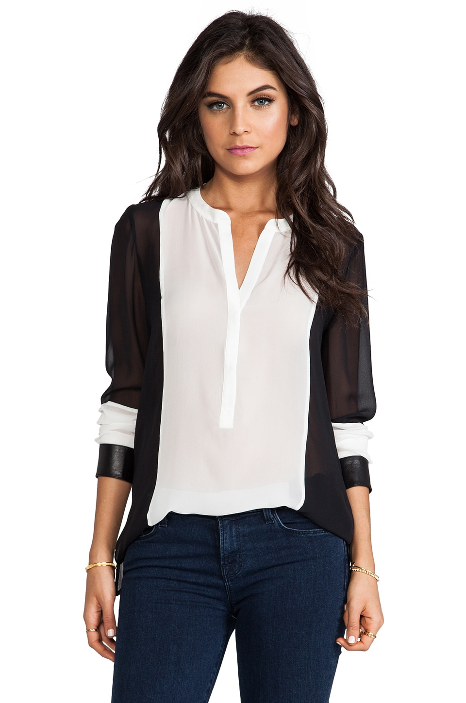 PJK Patterson J. Kincaid Madison Blouse in Black/White