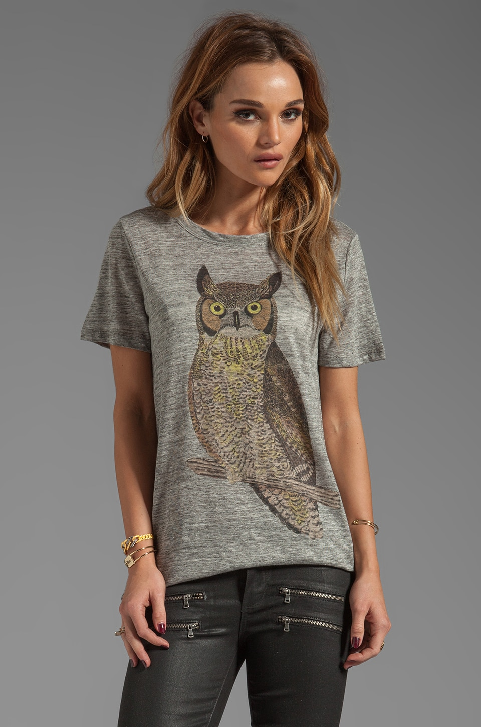 PJK Patterson J. Kincaid Owl Classic Crew Tee in Heather Grey