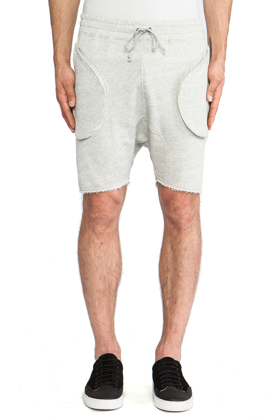 Post Bellum Drop Crotch Sweatshort in Heather Grey