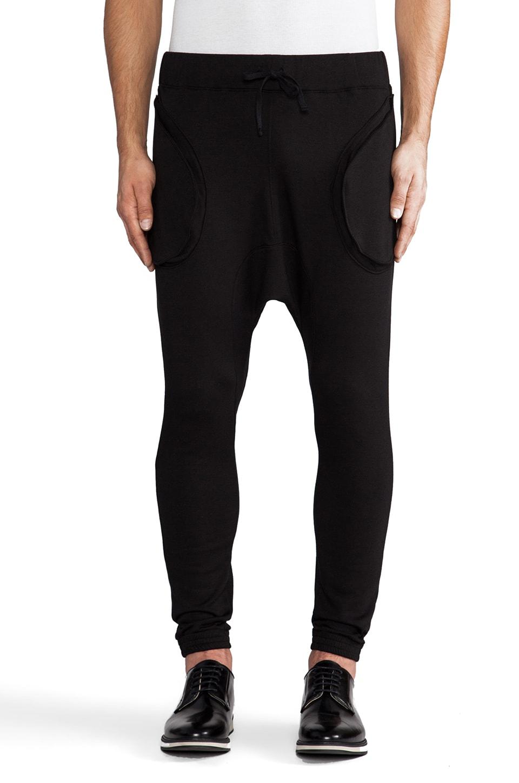 Post Bellum Fleece Drop Crotch Trainers in Noir