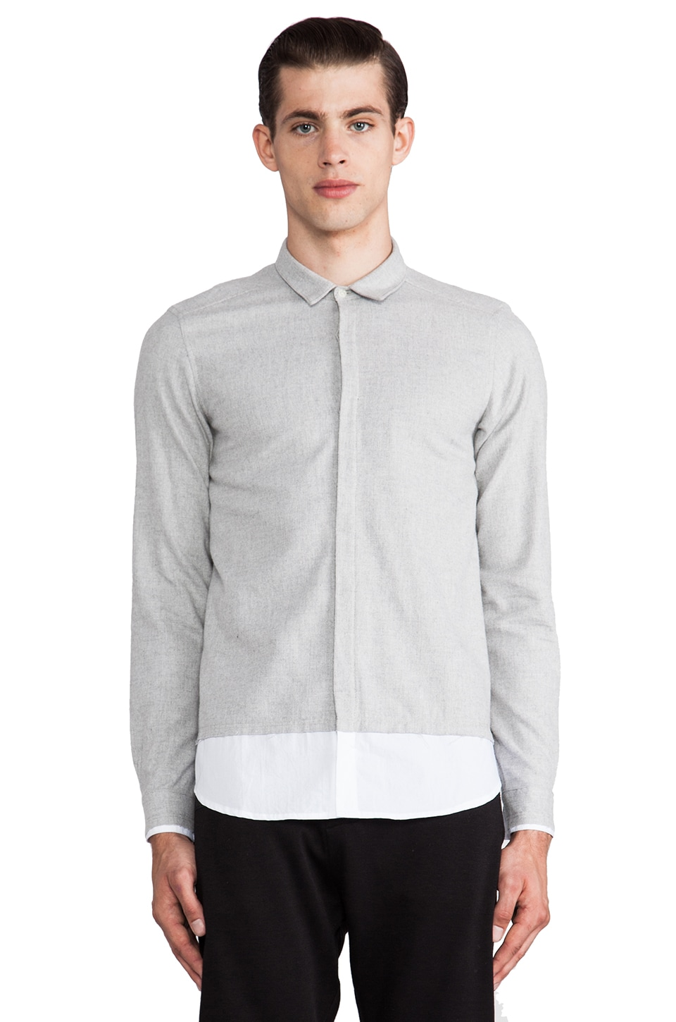 Post Bellum Distressed CB Button Down in White/Grey