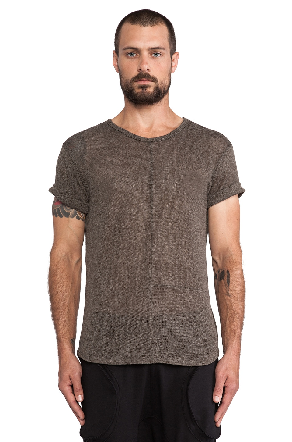 Post Bellum Combo Paneled Torque Tee in Moss & Hunter