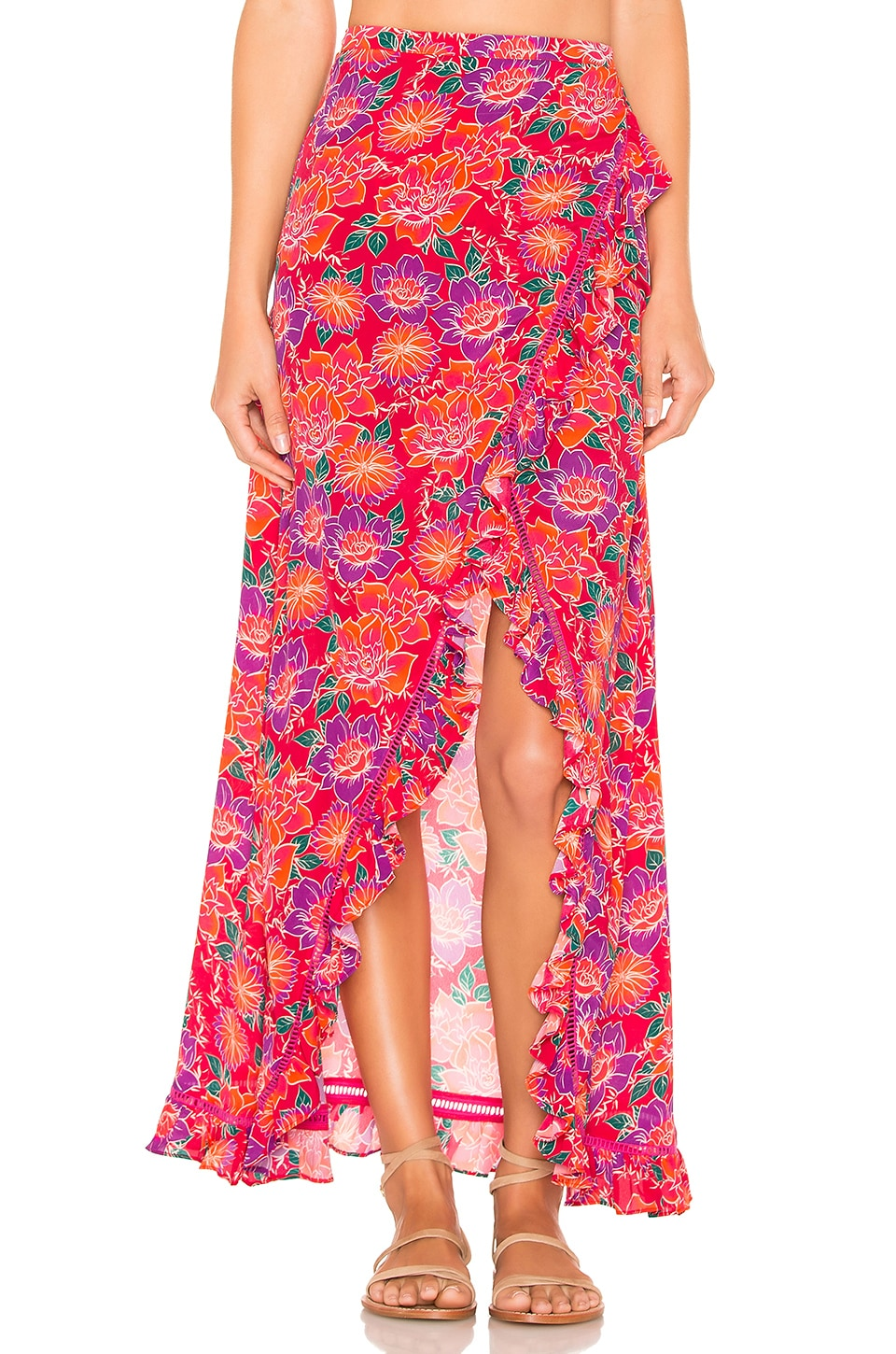 PALOMA BLUE Stevie Floral Silk-Blend Wrap Skirt in Red