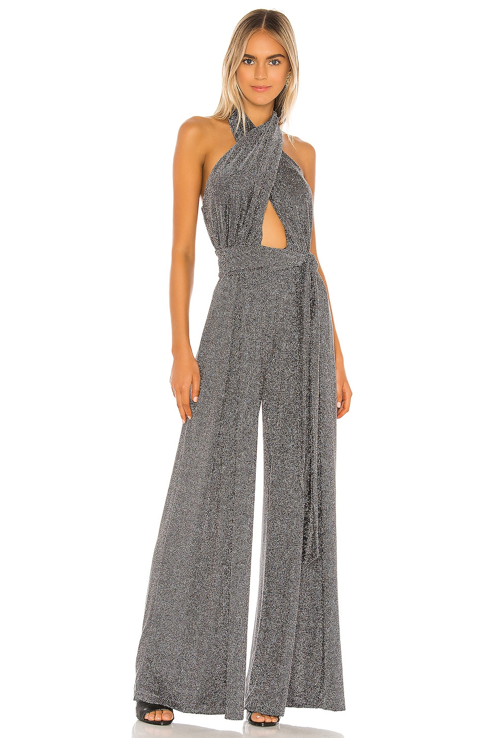PatBO X REVOLVE Metallic Mesh Jumpsuit in Pewter