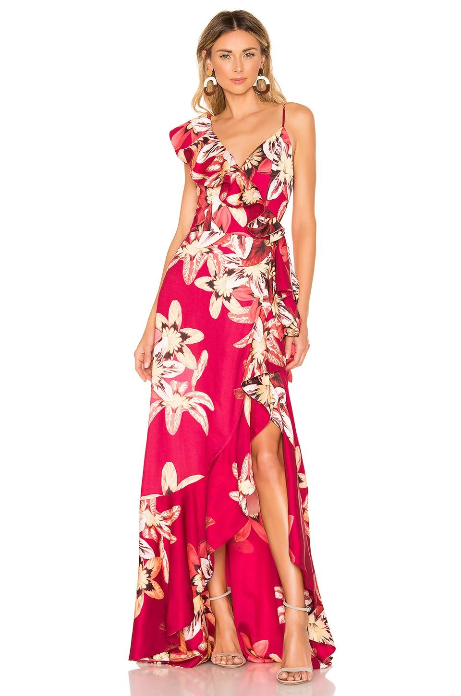 PatBO Floral Carmen Maxi Wrap Dress in Deep Pink