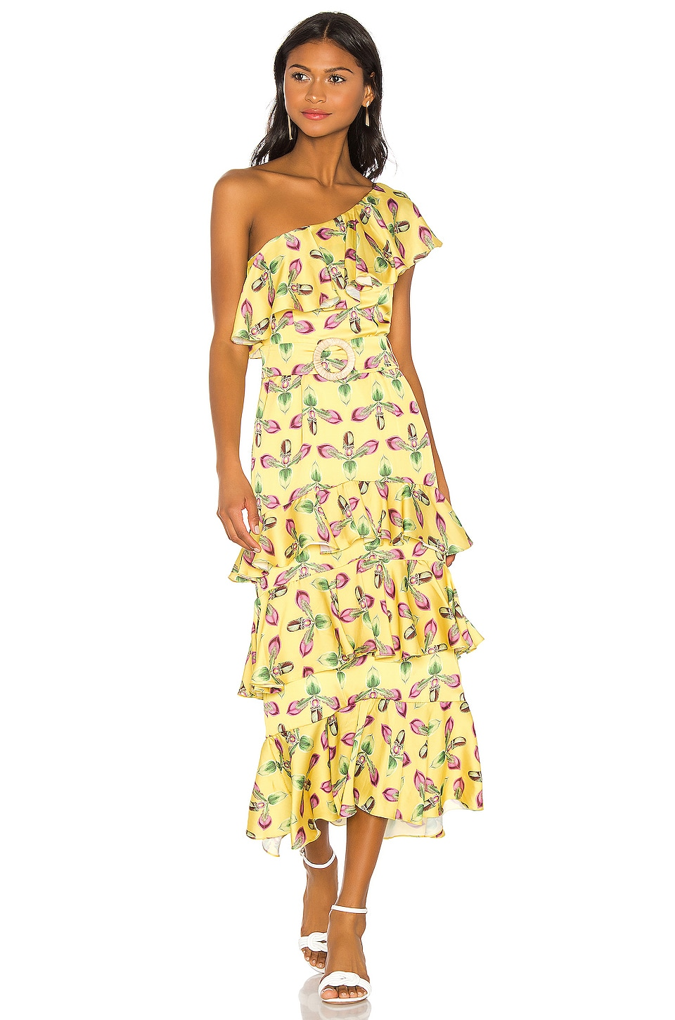 PatBo One Shoulder Tiered Dress in Bright Yellow