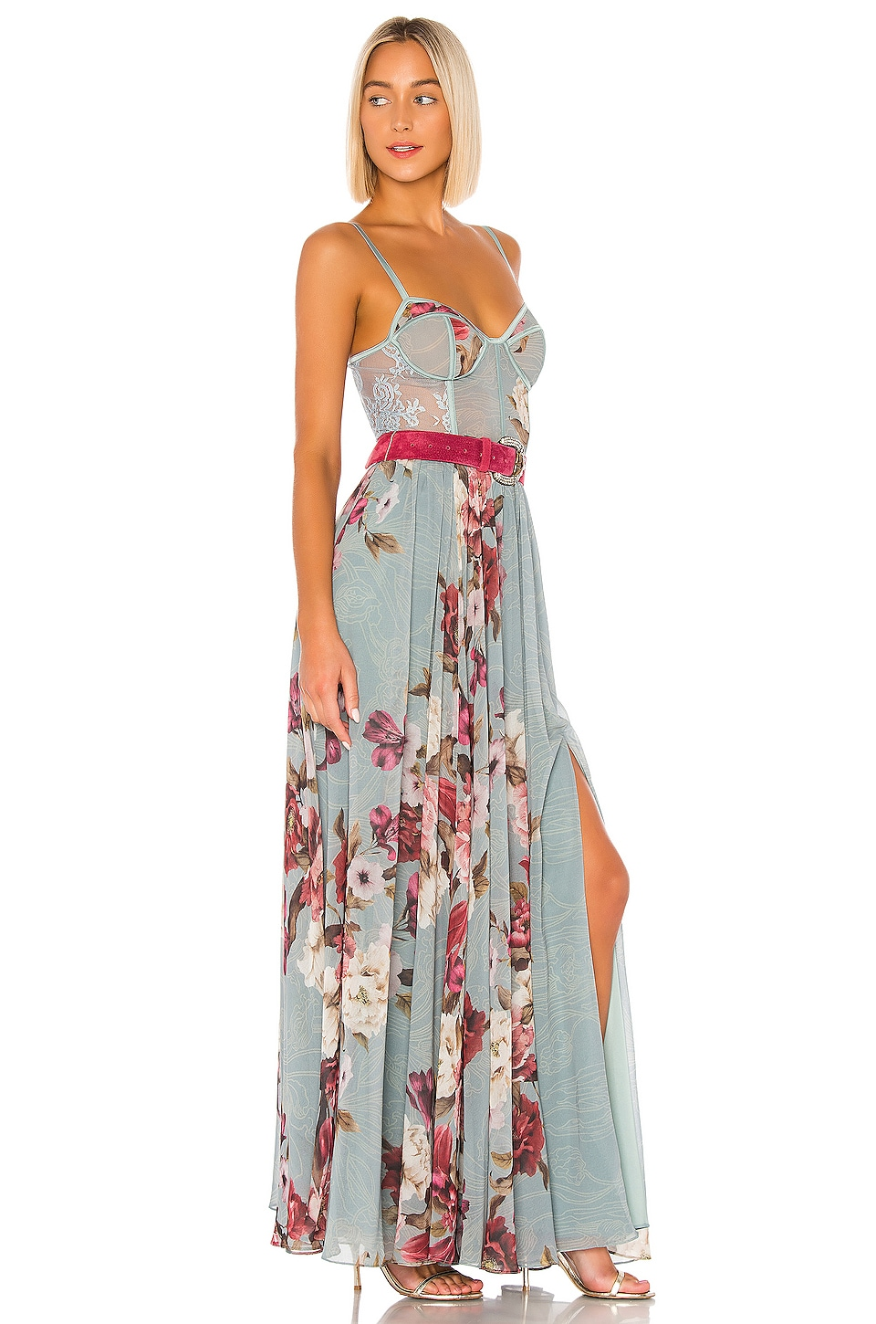 Peony Bustier Maxi Dress, view 2, click to view large image.