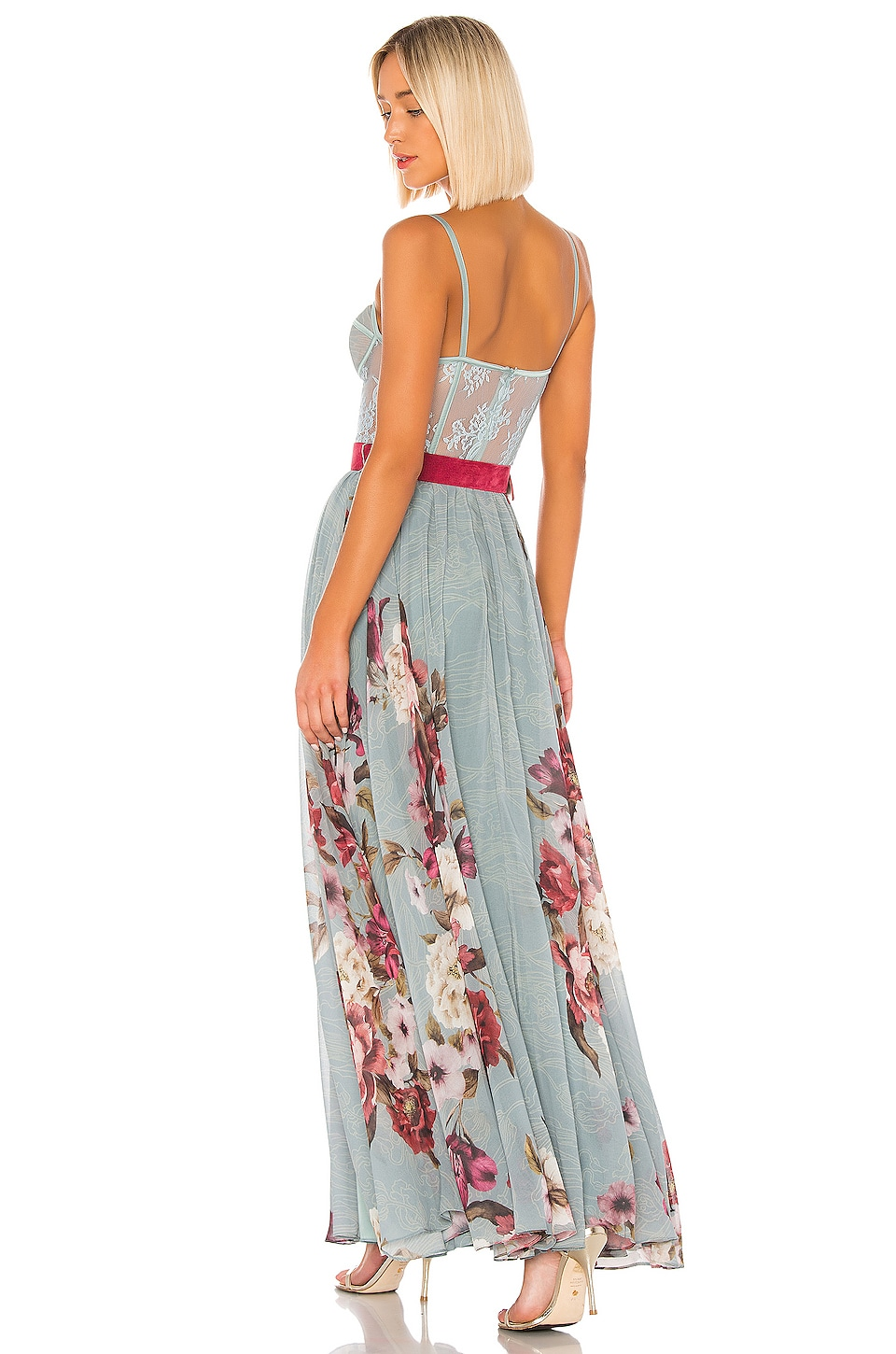 Peony Bustier Maxi Dress, view 3, click to view large image.