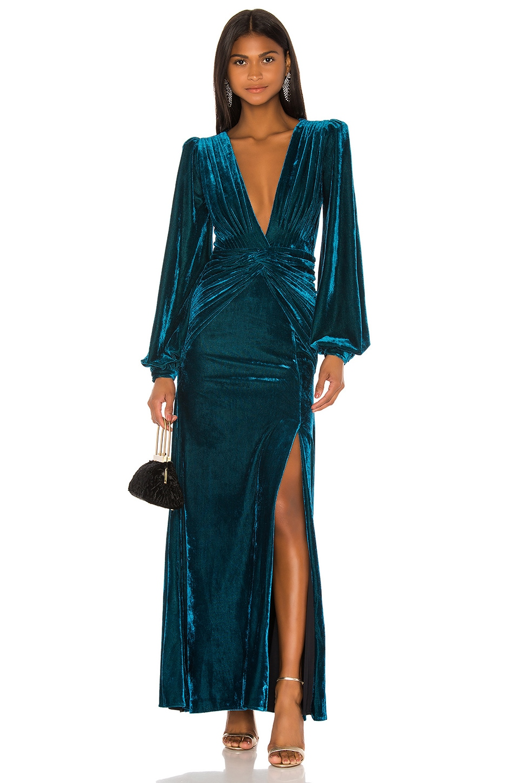 PatBO Velvet Long Sleeve Gown in Azure