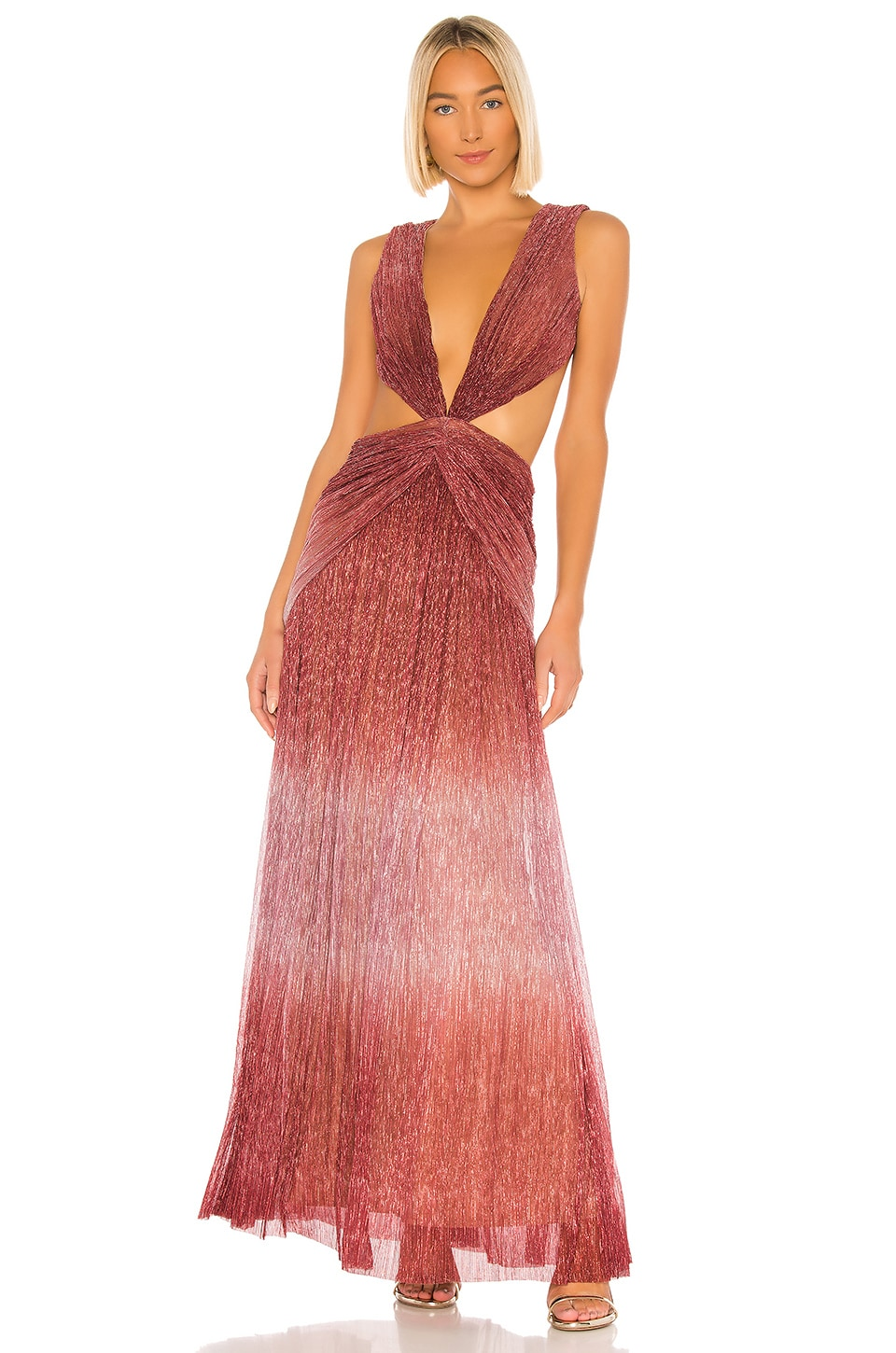 PatBO Ombre Lurex Sleeveless Cutout Gown in Light Orchid