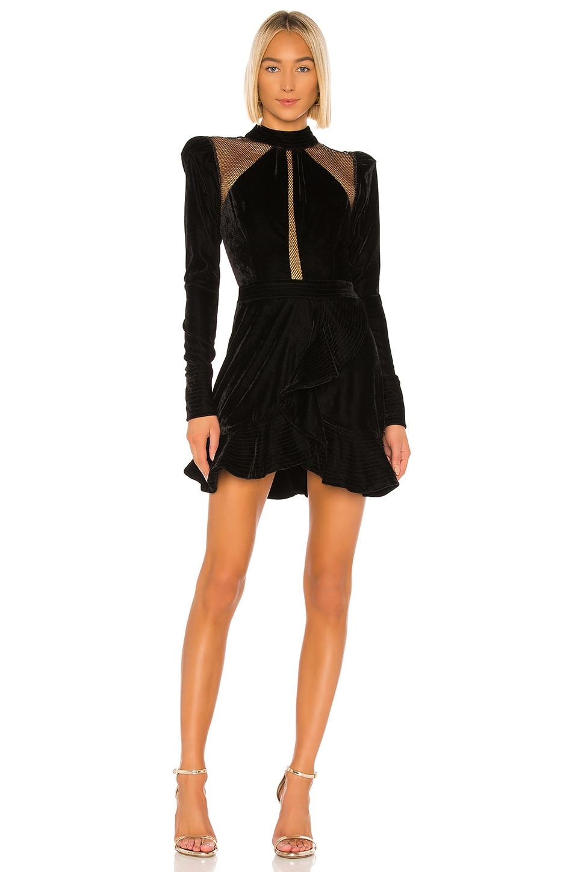 PatBO Velvet and Lurex Mini Dress in Black