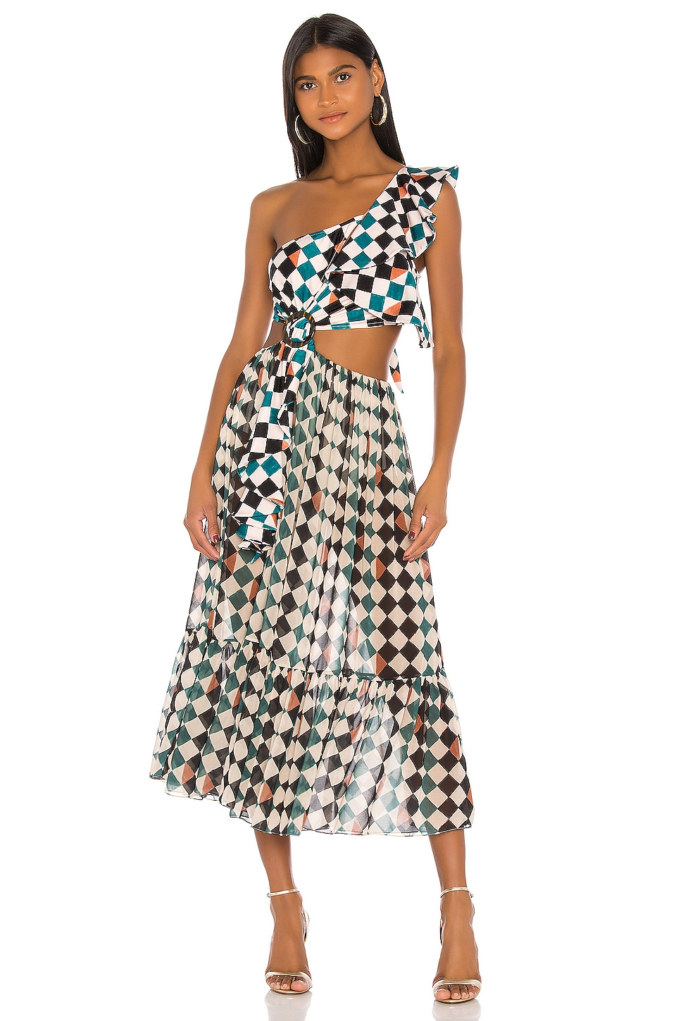 PatBO Check One Shoulder Beach Dress in Teal Multi