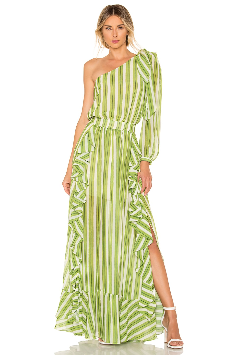 PatBo Striped One Shoulder Maxi Dress in Green & White