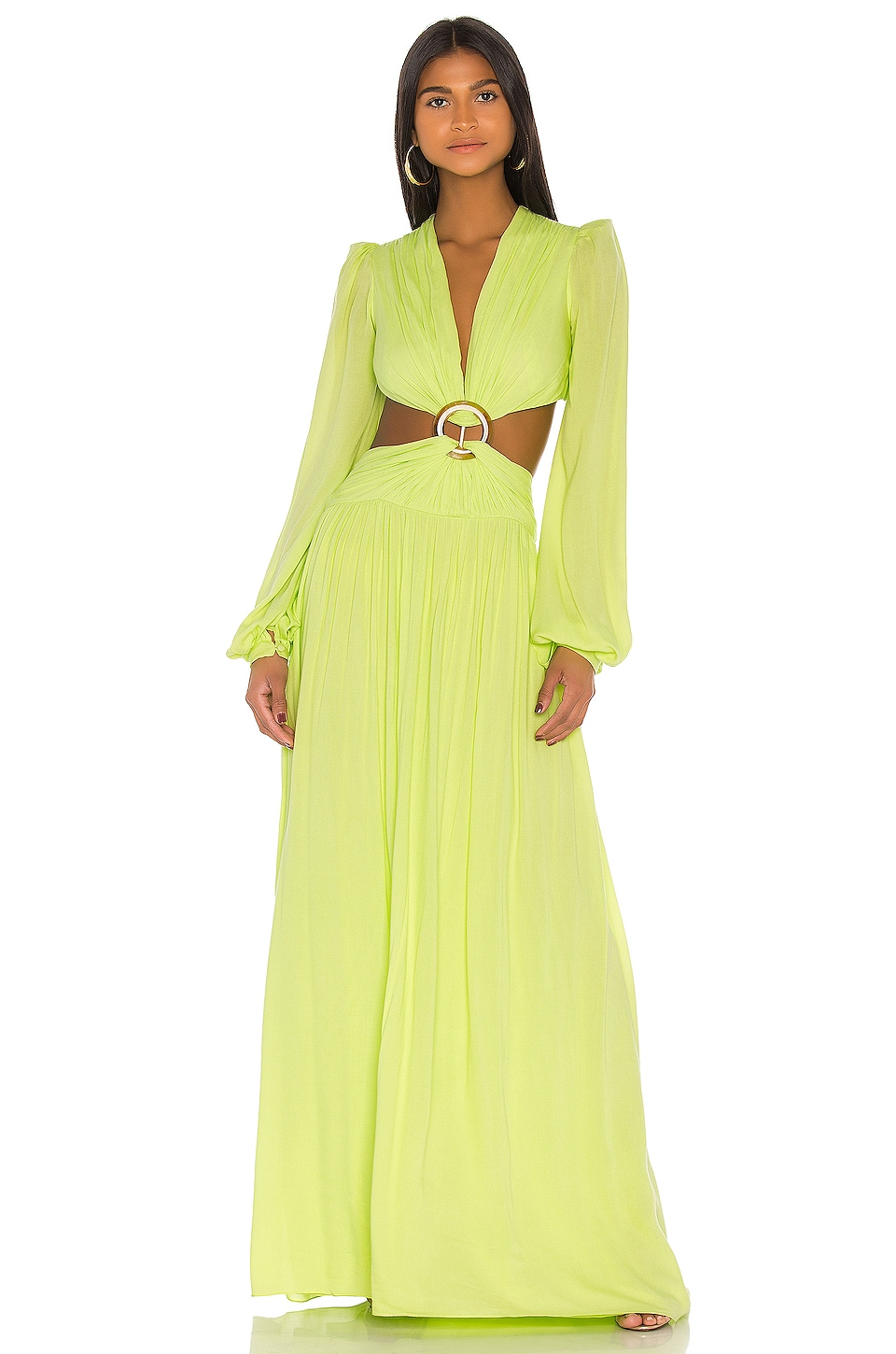 PatBO Neon Cutout Gown in Lime