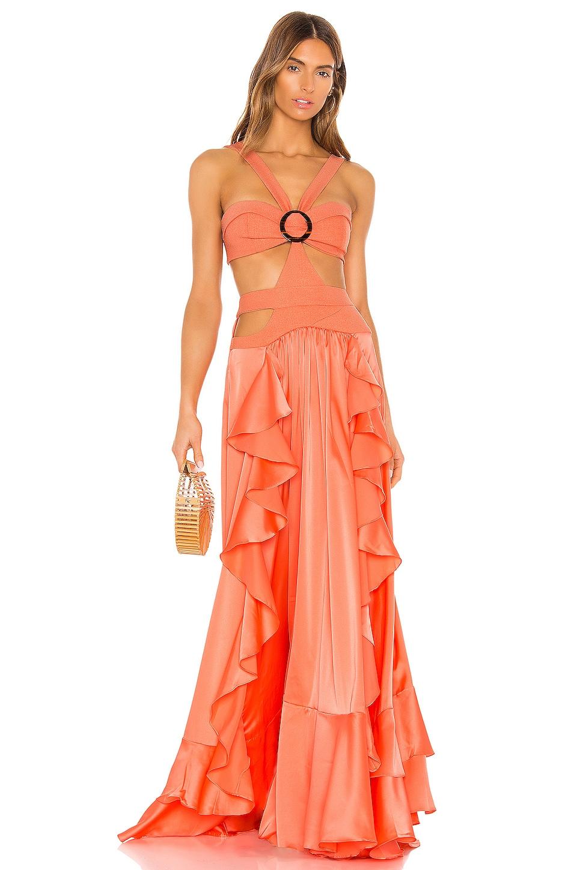 PatBO Cutout Maxi Dress in Hot Orange